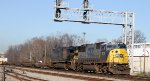 CSX 8774 leads train Q741-29 past the signals at Charlie Baker