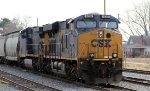 CSX 935 is in the lead of an empty grain train