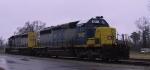 CSX 8147 & 8131 await their crew on a rainy morning