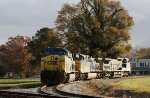 CSX 642, 519, and 7307 bask in the morning sun in the wye