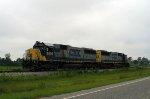 CSX 8636 & 8505 head back light after dropping off a grain train