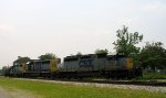 CSX 8324, 8091, and 2652 pull one car