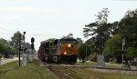 "CSX 853 leads train F707 towards the ""A"" line"