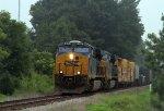 CSX 845 leads a train towards Hamlet