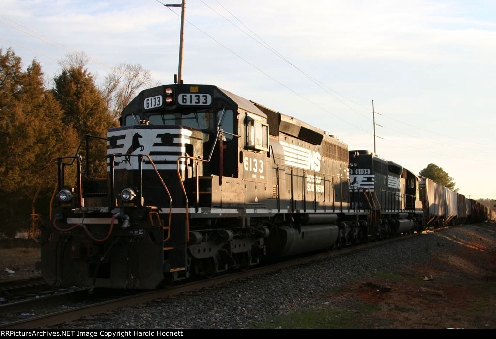 NS 6133 & 6109 are tied down east of the yard with train 349