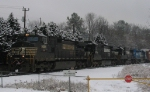 NS 349 gets ready to leave Glenwood Yard in the snow