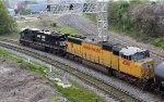 NS 7568 & UP 4361 lead train 352 towards the yard