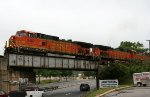 BNSF 5467 leads NS 349 train across Capital Blvd.