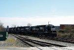 NS 7140 leads train 349 across Cabarrus Street