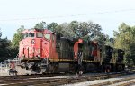 CN 2516, IC 2721, and NS 4011 sit in Glenwood Yard