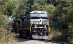 NS 8510 leads train E25 southbound