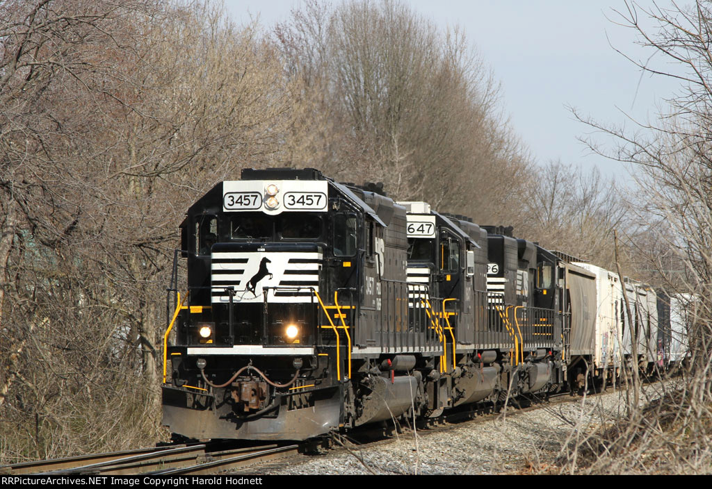 NS 3457 leads two other SD40-2's westbound on train P61