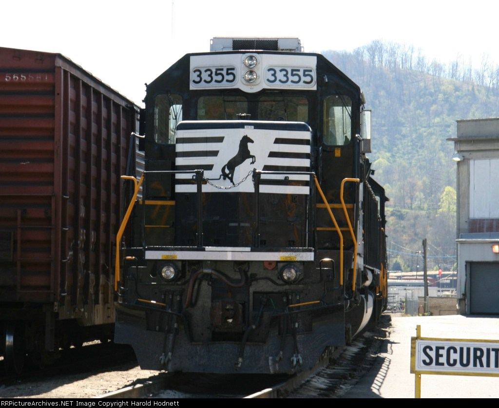 NS 3355 sits outside the paper mill awaiting to return to Asheville