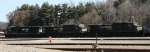 NS coal train waits to depart Asheville yard behind 3 GE units