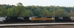 NS 9503 leads train 134 eastbound out of the yard