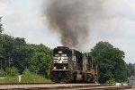 NS 6937 leads train 135 westbound, long hood forward