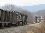 NS 9605 & 9353 push hard on the rear of a loaded coal train