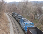 NS 6657, 8970 & 6728 lead an empty coal train westbound