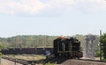 NS 2365 switches a long string of wood chip hoppers past the yard tower