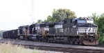 NS 9359 leads train 135 west out of Asheville Yard
