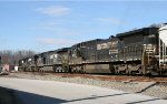 NS 8722 is the last of 4 NS units on a westbound grain train