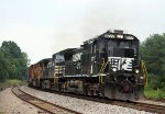 NS 8777 leads train 135 westbound