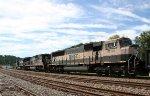 BNSF 9734 heads west on NS train 135