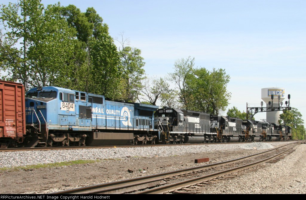 NS 8408 is the last unit on train 128 that heads north thru Aycock