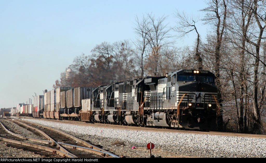 NS 9701 leads 3 GP60's and train 214 northbound