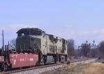 "NS 9707 leads another ""stealth"" unit northbound with an intermodal train"
