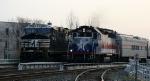 RNCX 1792 leads AMT train 73, the Piedmont, past train 218