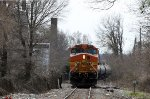BNSF 5266 leads an ethanol train off the CF line