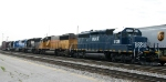 HLCX 8138 leads train P84 out of Pomona Yard with an interesting assortment of locos
