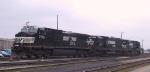 NS 9746 cuts away from its train in Pomona Yard