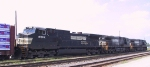NS 8992 now trails on train P30 as it leaves Pomona Yard