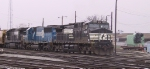 NS 9138 eases its train out of Pomona Yard