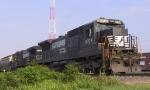 NS 8704 & 8865 lead a train down the lead towards Elm