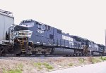 NS 9357 & 8816 are the last 2 locos on a southbound grain train