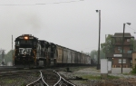 NS 8789 leads train 350 past Pomona Tower on an overcast day