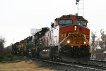 BNSF 5215 leads an assortment of locos down the lead towards Elm