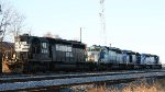 NS 3318 is one of four different SD40-2's in a lashup in the yard