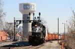NS 5147 leads a train down the yard lead