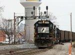 NS 6684 leads loaded coal train 846 down the yard lead