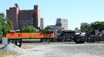BNSF 5364 holds NS train at Elm