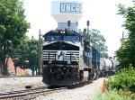 NS 9645 leads an ethanol train down the yard lead