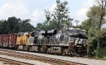 NS 8113 & 8030 lead a UP unit and train 12R northbound