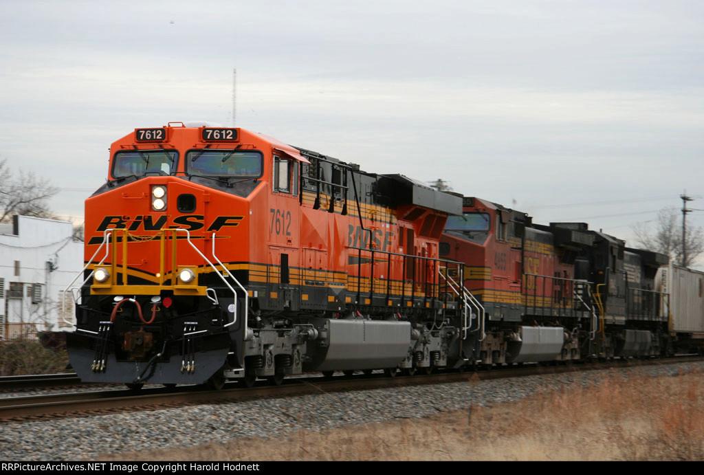 BNSF 7612 & 4855 lead a NS train northbound