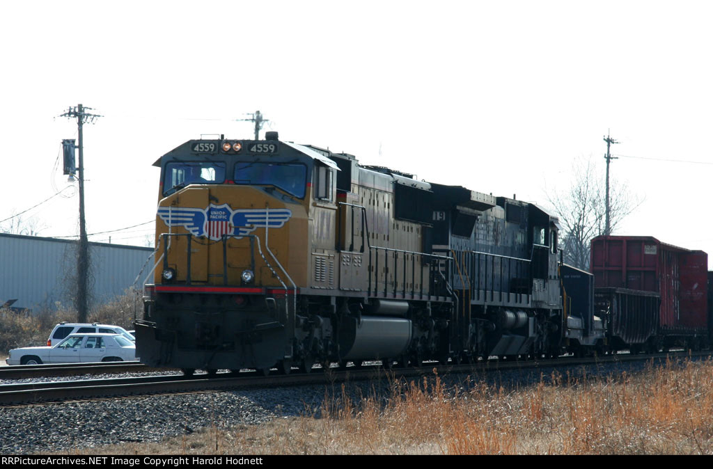 UP 4559 leads a NS train northbound