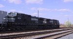 NS 8987 & 9098 lead a freight train out of town