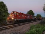 cp 553 getting ready to enter the Conklin yard at dark